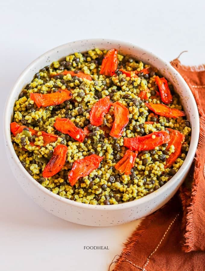 fluffy millet with beluga black lentils meal