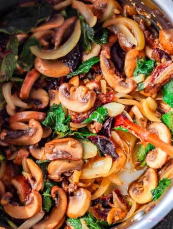 Prunes-mint sauteed mushrooms-pan