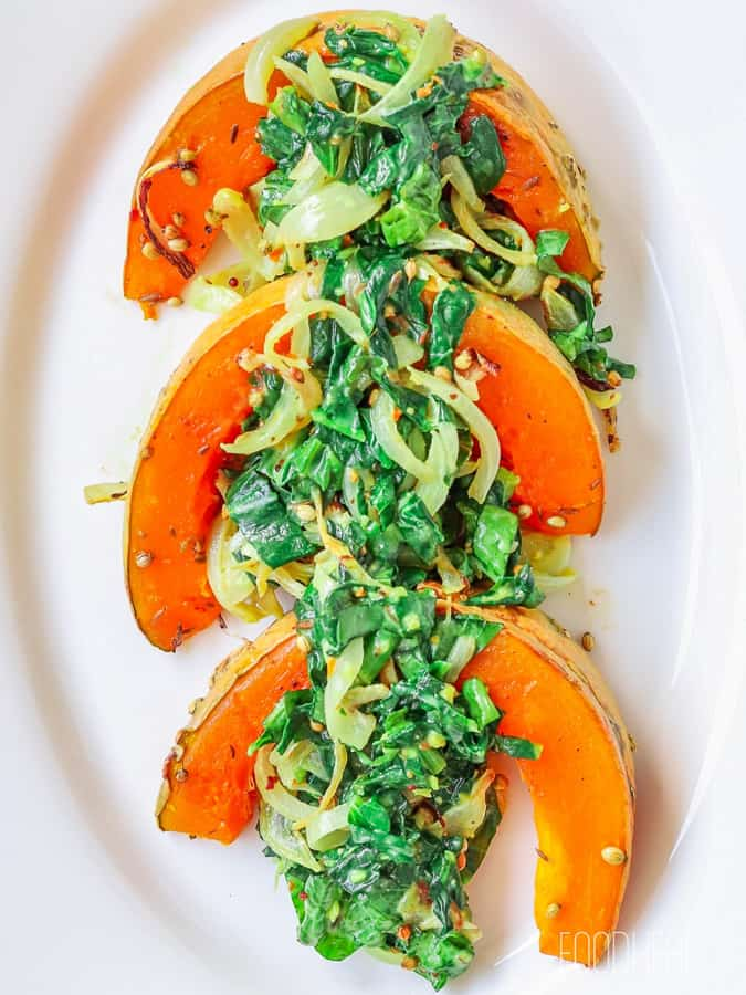 Roasted spiced pumpkins with spinach-2
