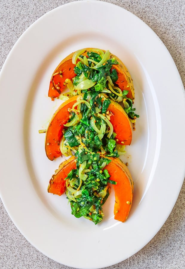 Roasted spiced pumpkins with spinach-3
