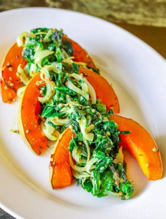 Roasted spiced pumpkins with spinach-1
