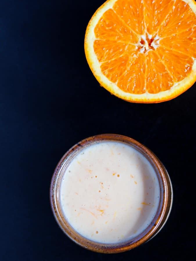 Orange sauce and half an orange