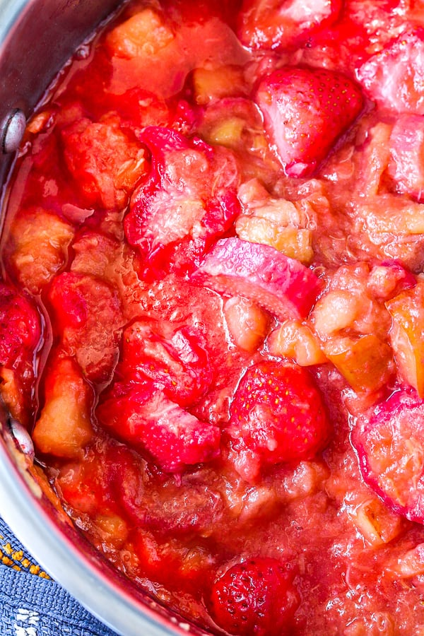 rhubarb strawberry chutney cooking in saucepan