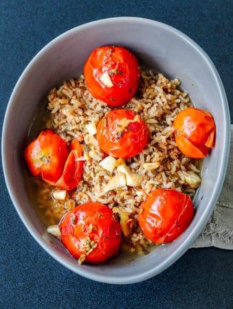 served garlic homemade tomato soup on pilau brown rice