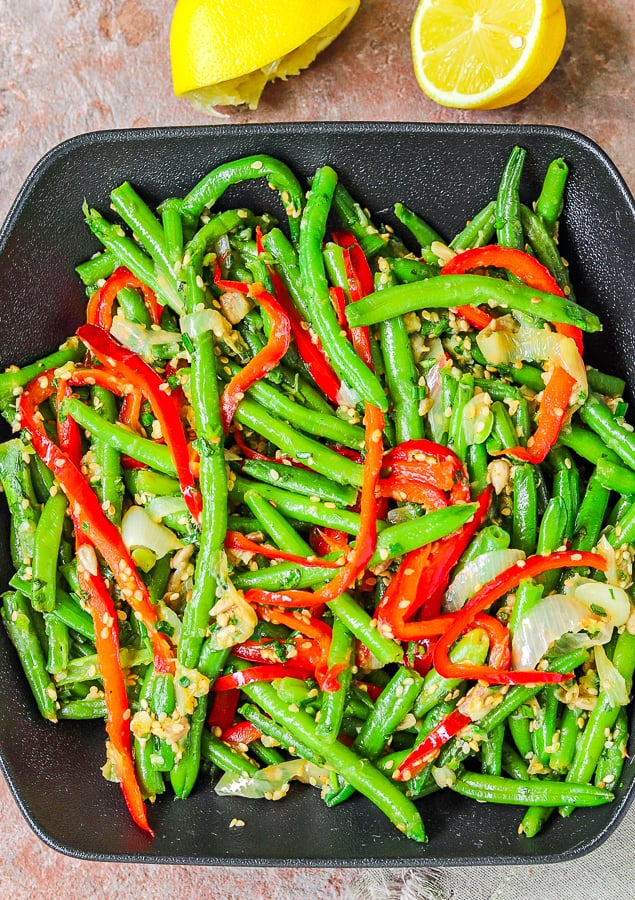 Frozen beans bell pepper & sesame in a serving plate