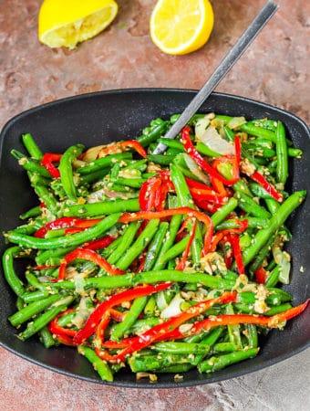 Frozen beans bell pepper & sesame in a serving plate