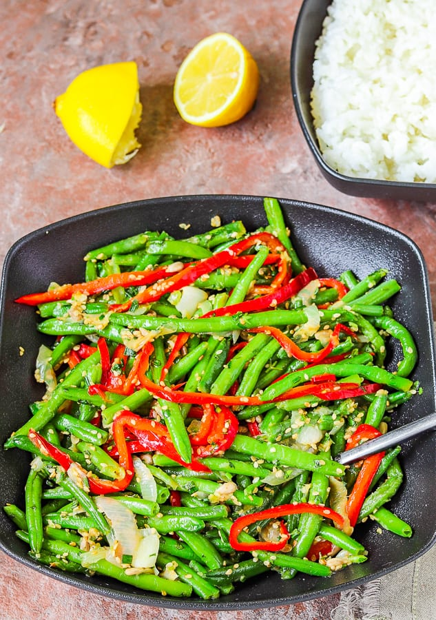 Frozen beans with bell pepper & sesame served with rice