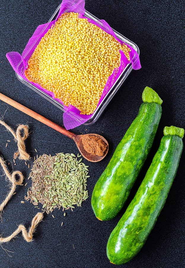 Ingredients for zucchini millet pancakes