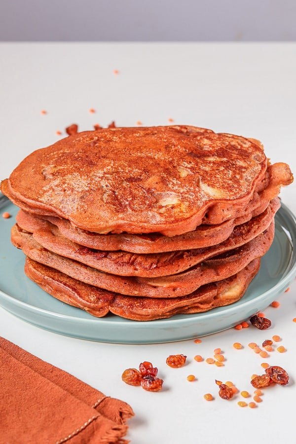 served fluffy vegan pancakes with red lentils