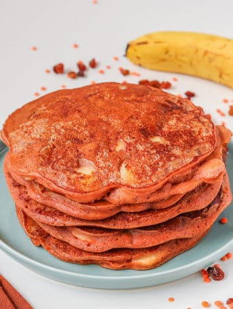 fluffy vegan pancakes with red lentils