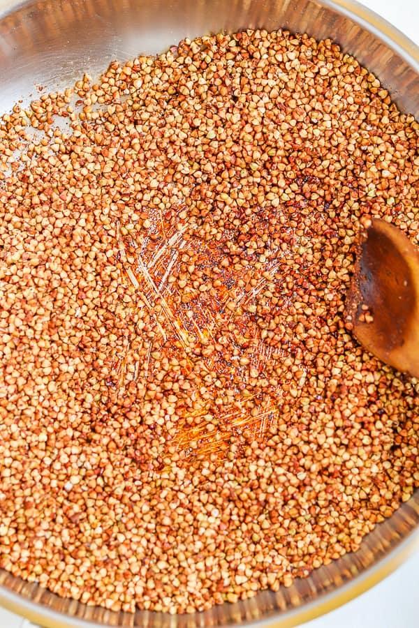 add brown sugar on the toasting buckwheat groats