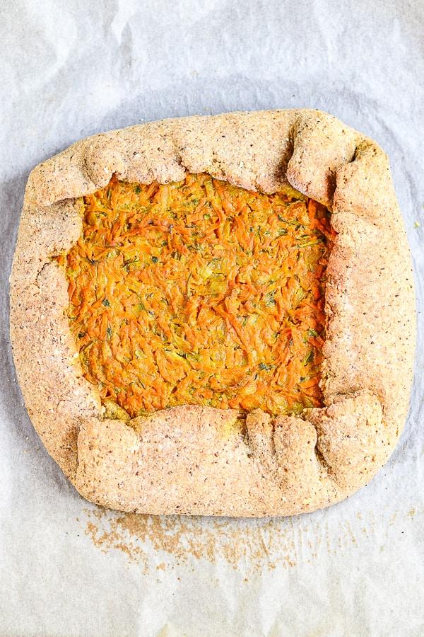 baked vegan grated vegetable galette