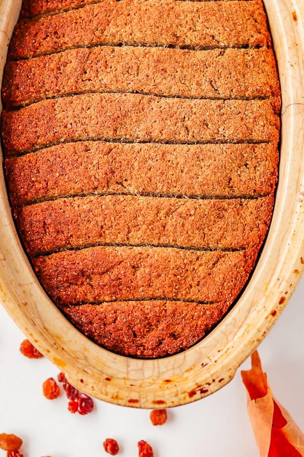 homemade gluten-free bread in the baking tin