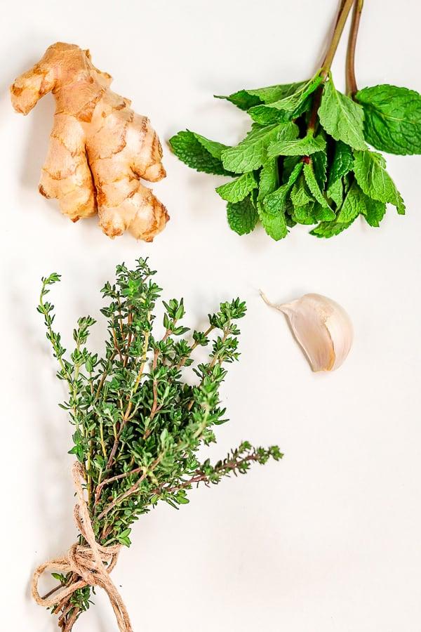 ingrédients pour le thé au thym