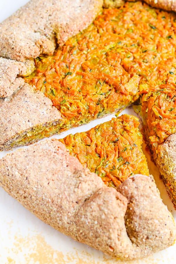 sliced vegan vegetable galette