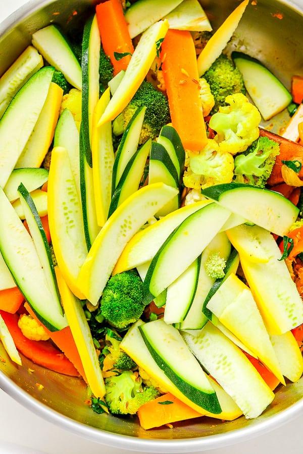 sauté de légumes l' ajout des courgettes