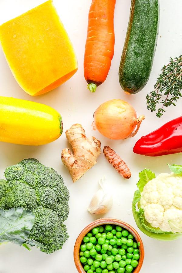 les ingrédients pour légumes sautés