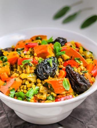 F; Mung bean & pumpkin cooked in turmeric