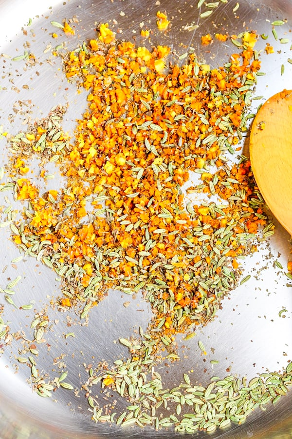 Turmeric & spices in a pan