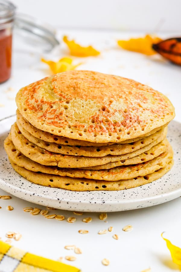 easy oatmeal pancakes with holes