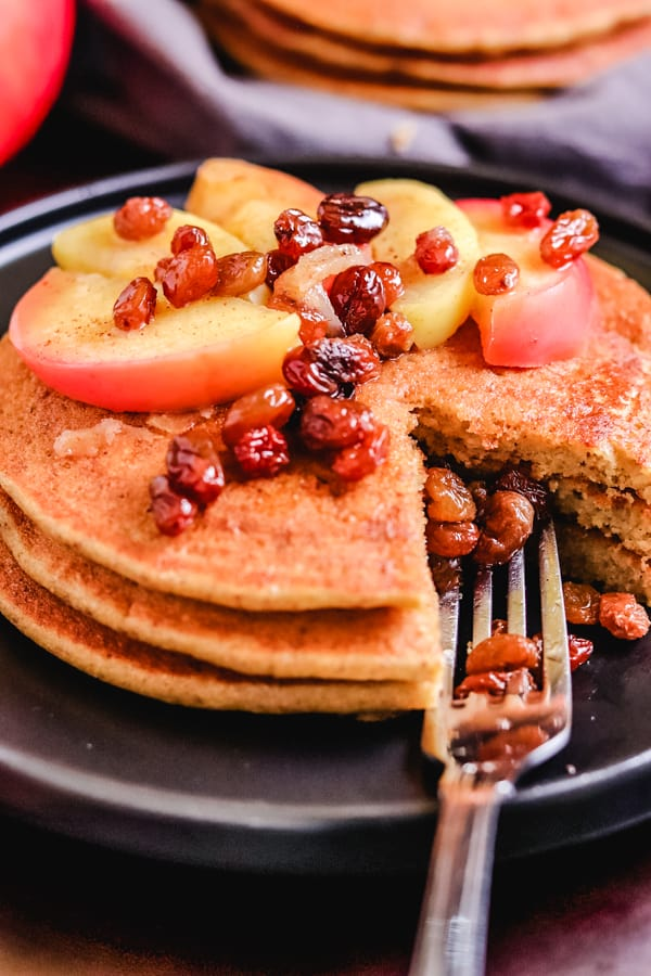 Cornflour pancakes with apple relish & a fork