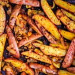 oven-baked potato wedges with onions