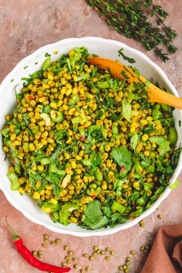 assembling mung beans salad