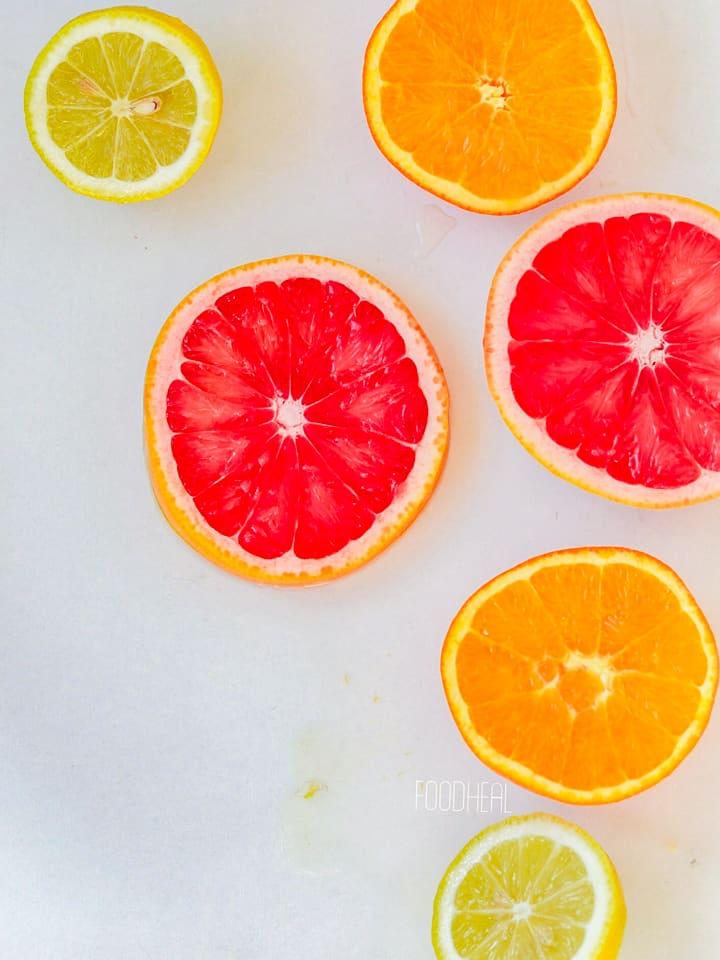 citrus cut in halves