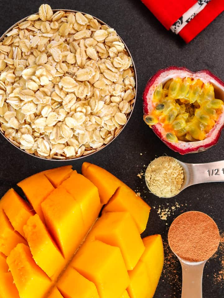 ingredients for overnight oats with mango