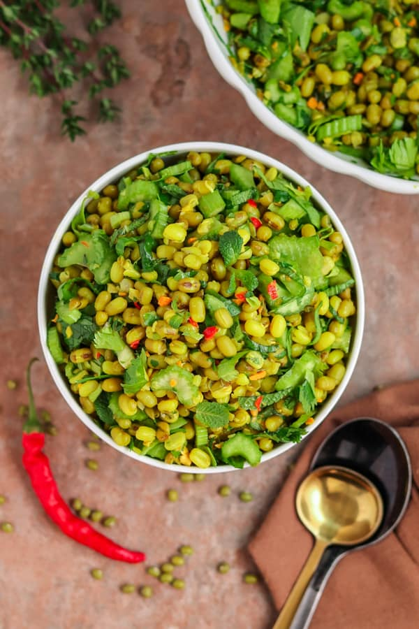 mung bean salad with spoons
