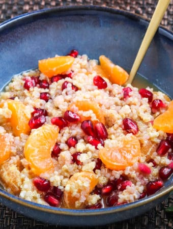 quinoa millet with citrus fruits for breakfast