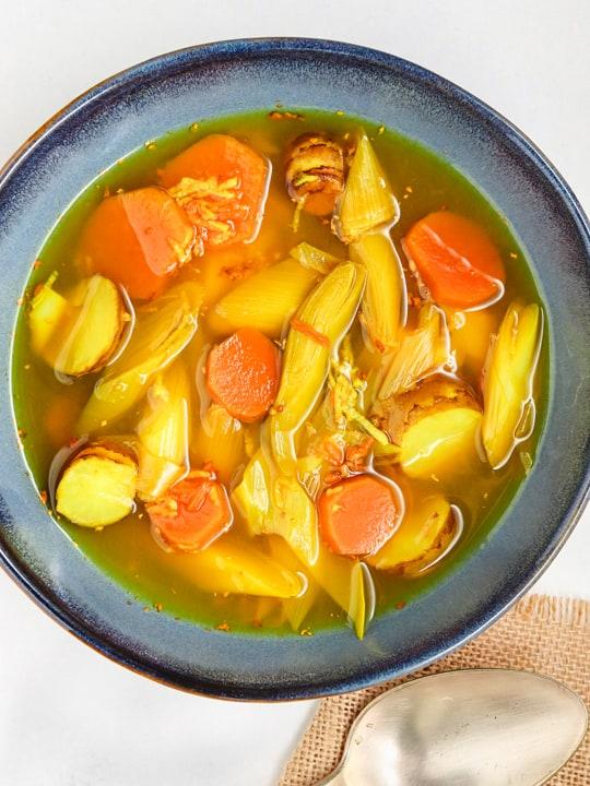 sweet potato leek soup with sunchokes