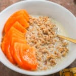 vegan overnight oats with persimmon fruit