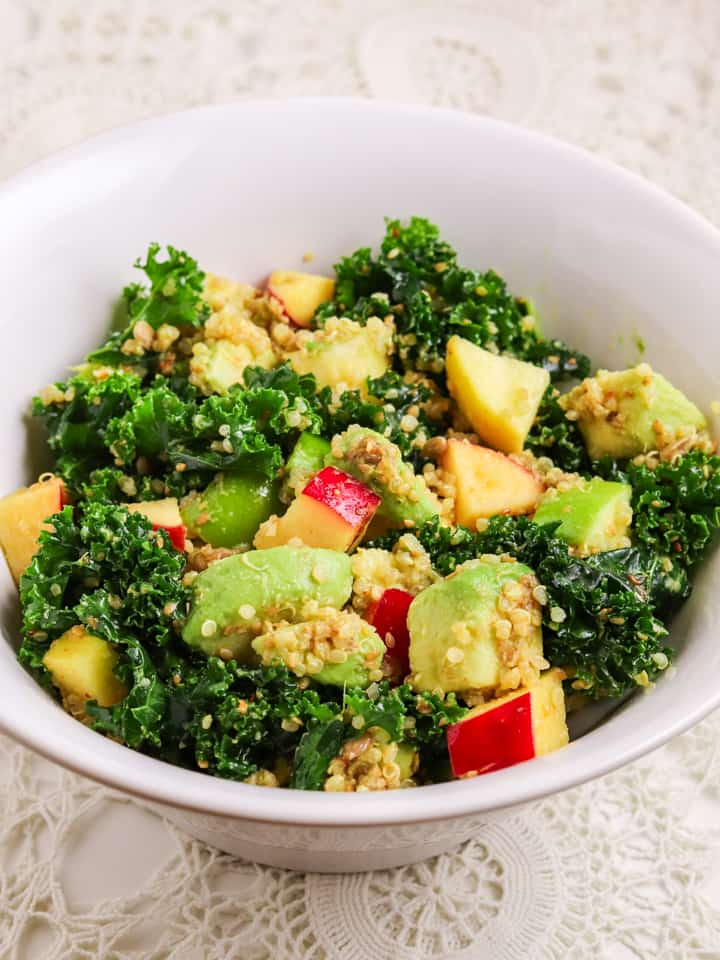 kale quinoa salad with apples