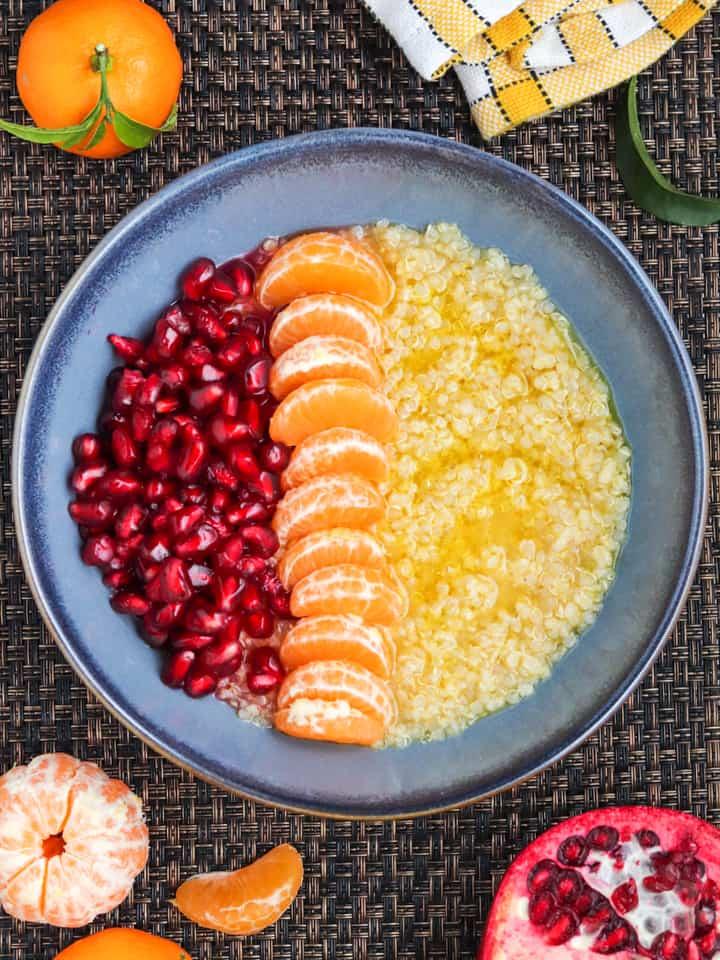 Millet quinoa & arils in orange juice