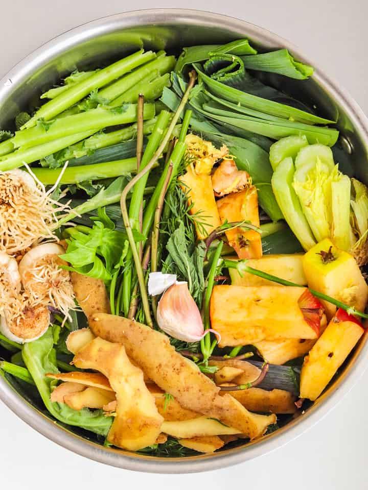 cooking vegetable broth in a big saucepan