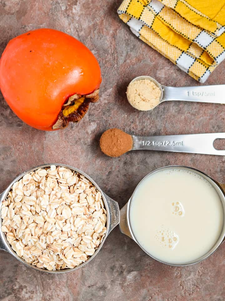 ingredients for overnight oats with persimmon