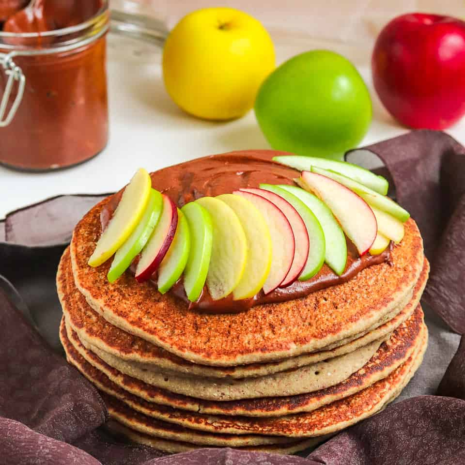 buckwheat pancakes with homemade applesauce-with spread