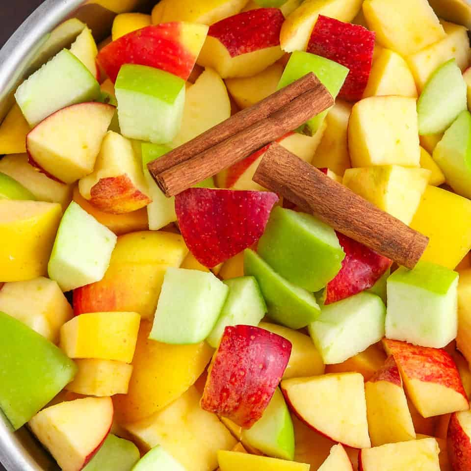 cut apples & cinnamon for applesauce