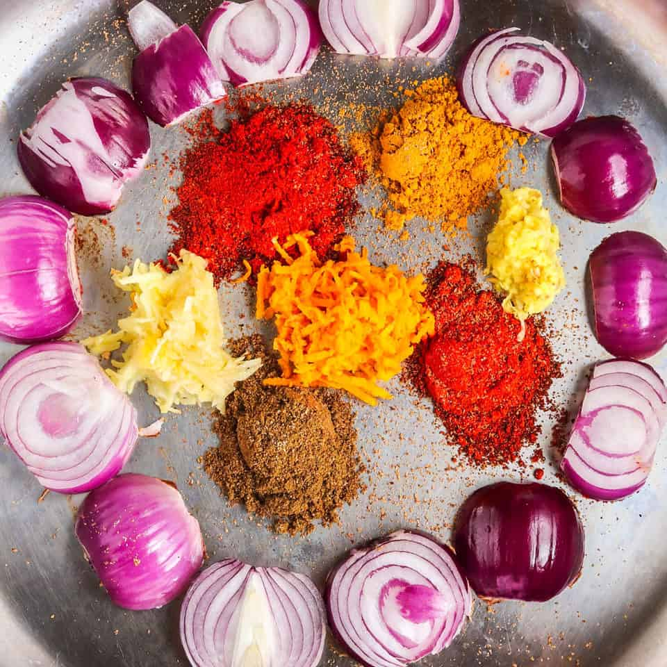 onions & spices for healthy sweet potato recipe