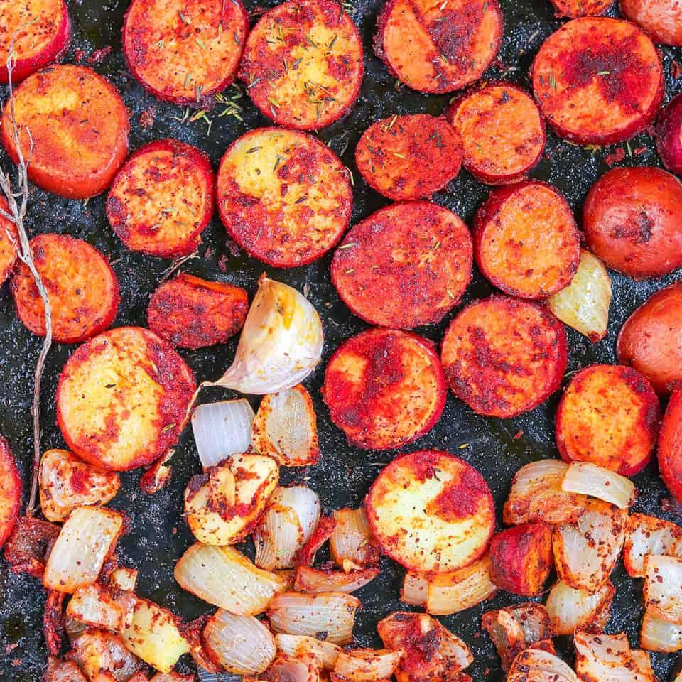 roasting potatoes & onions in smoked paprika