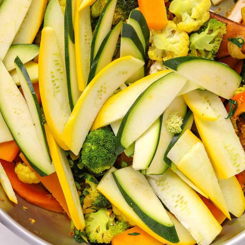 Add zucchini in veggie stir fry recipe