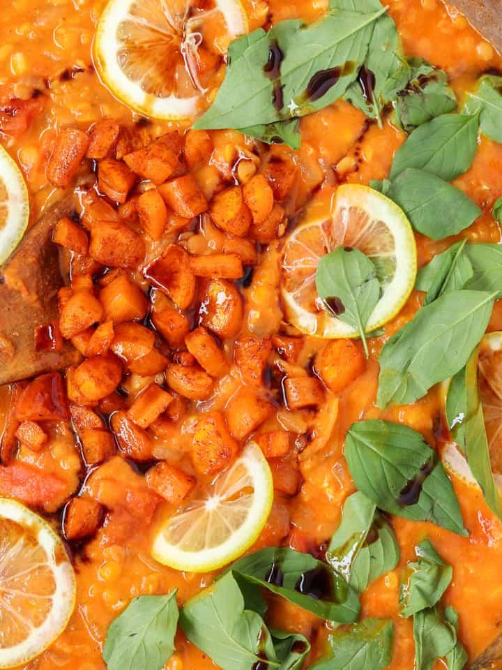 fresh basil & basil vinegar added to lentils with slices of lemons