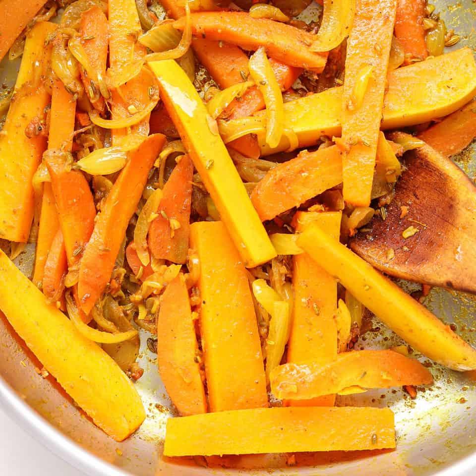 Cooking butternut in veggie stir fry recipe