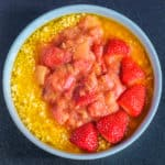 Overnight millet recipe with rhubarb-strawberry