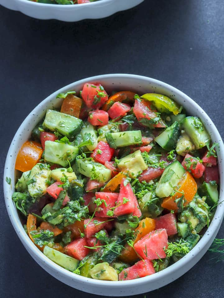 cucumber avocado salad with watermelon