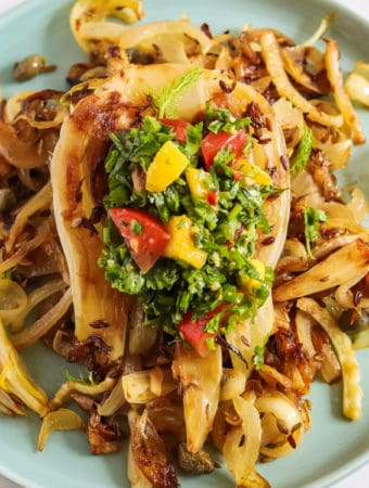 pan-roasted fennel with mango salsa