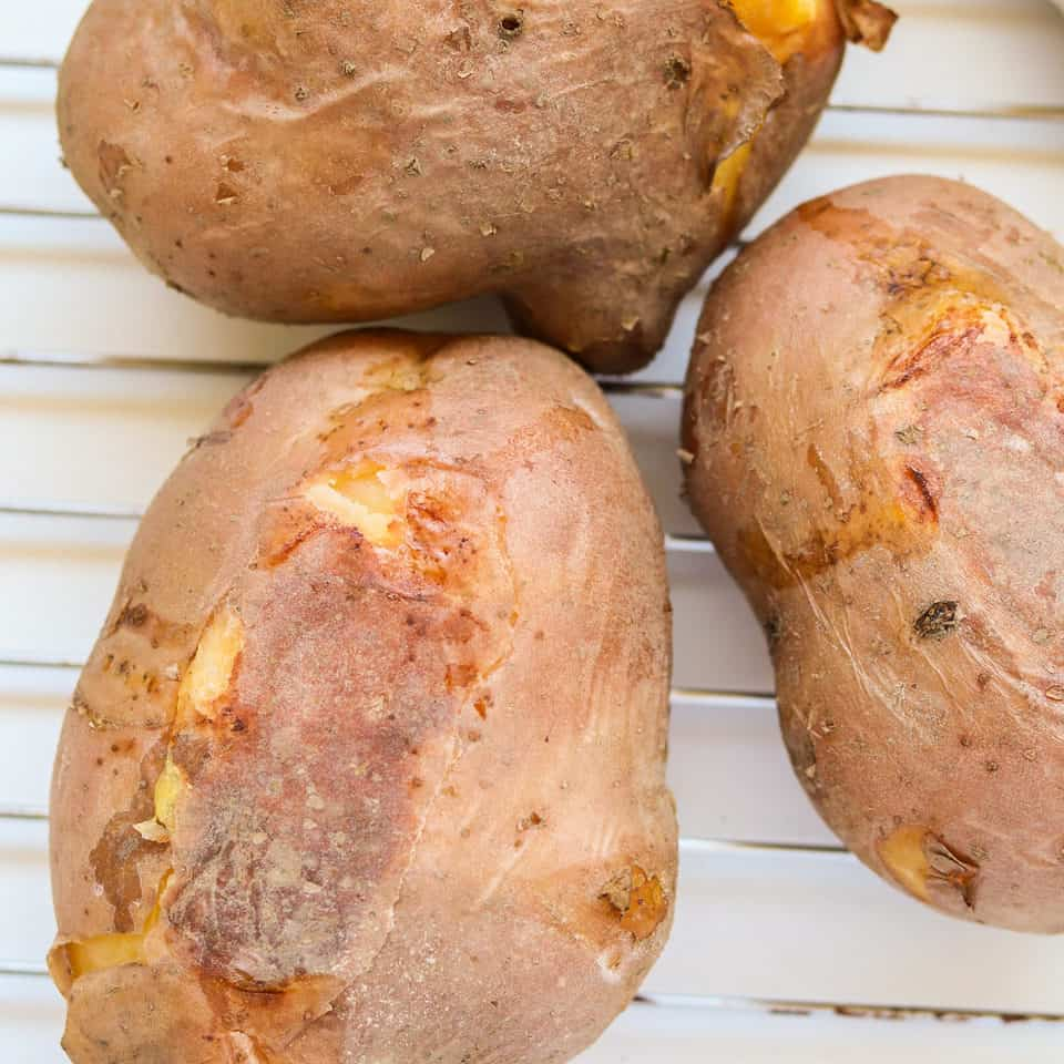 baked potatoes on a oven rack