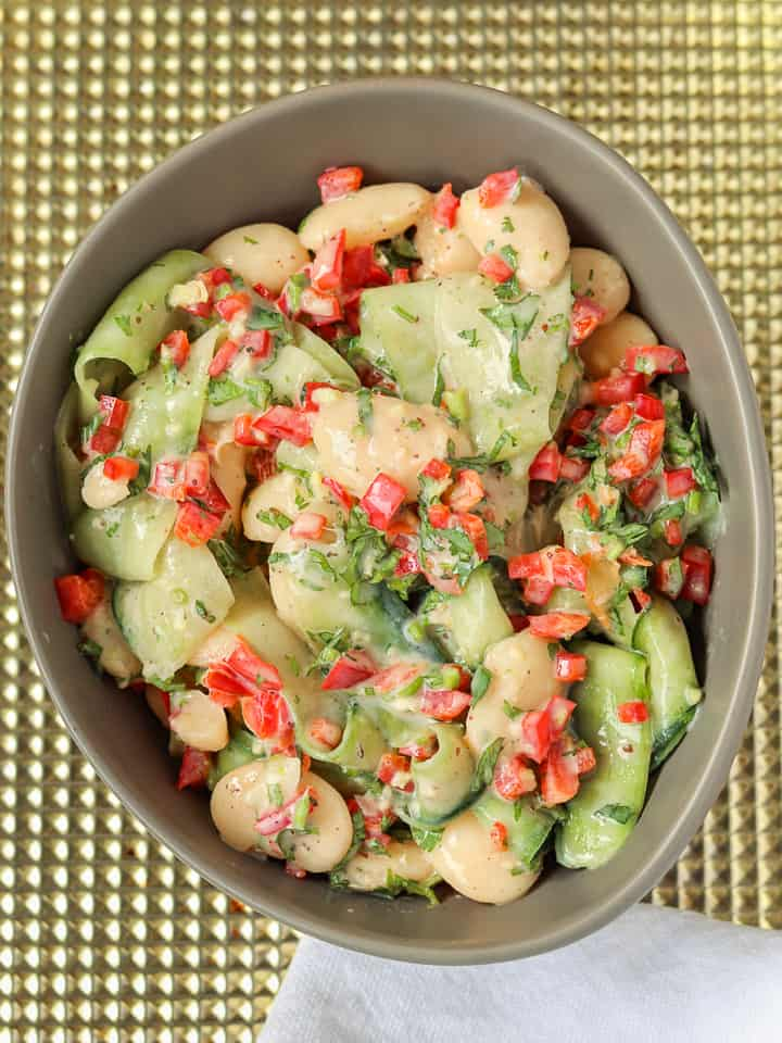 butter beans cucumber salad in a bowl