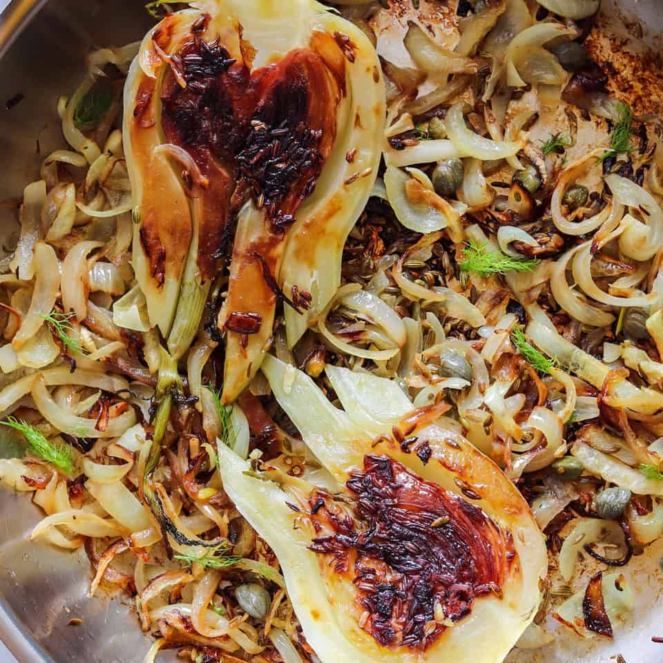 caramelized fennel bulbs with onions